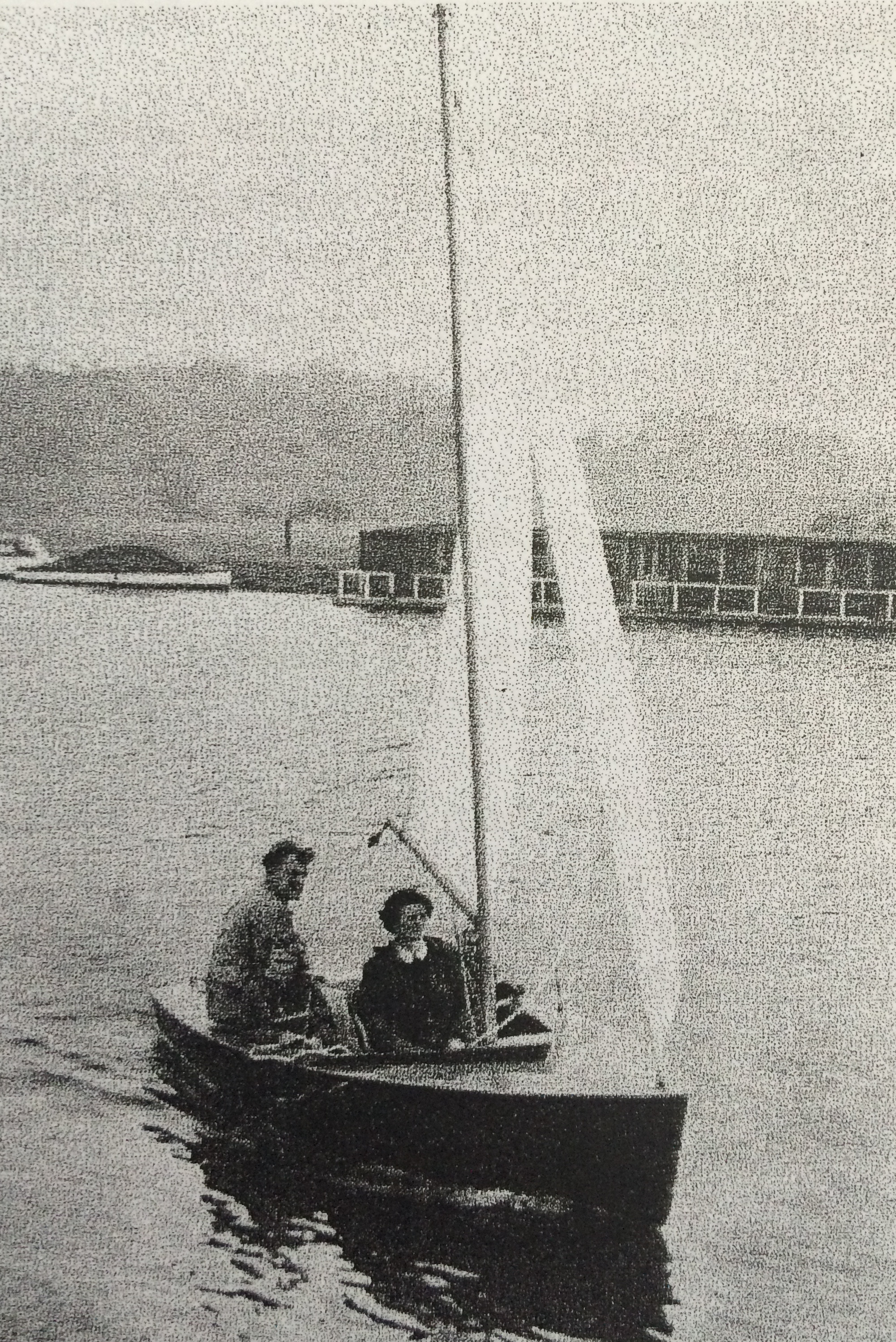 Dick Wyche and family sailing the prototype Graduate